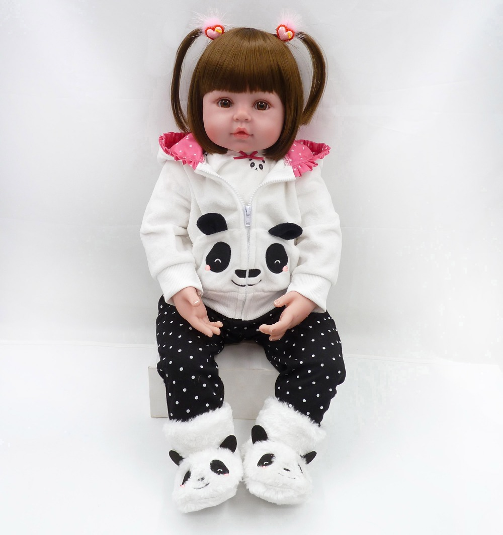 Pursue 24/61 cm Adorable Panda Reborn Baby Dolls Soft Vinyl Silicone Reborn Toddler Princess Girl Doll Toys for Children Gifts handmade adorable soft vinyl silicone reborn toddler princess girl baby alive doll toys with soft cotton body for children girls