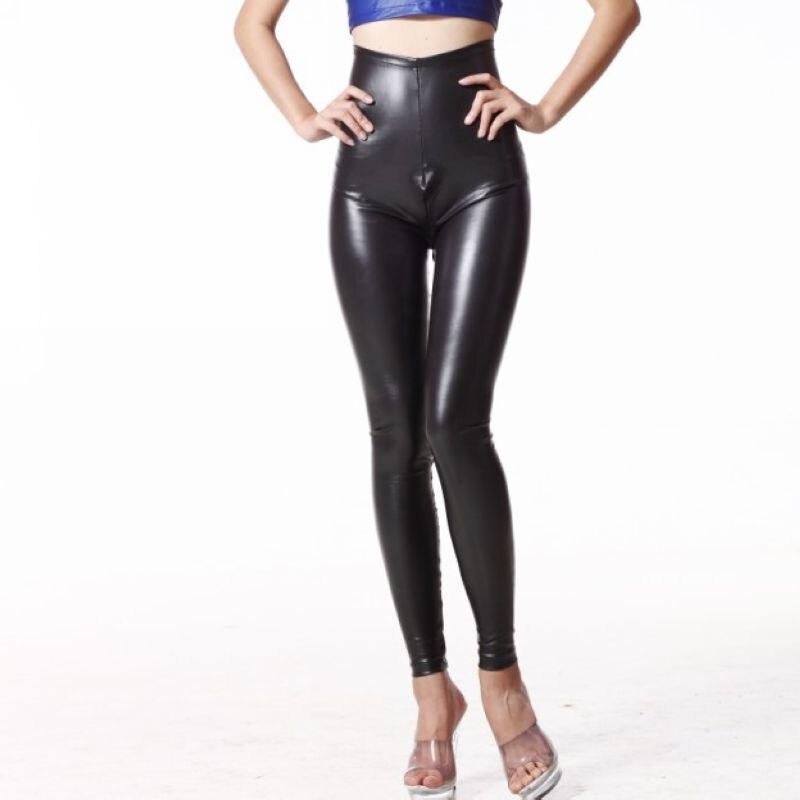 Hot High Rise Waist Corsets Latex Pencil Pants MAT Patent Leather PU Zipper Open Crotch Crotchless Matte Legging Night Club Wear