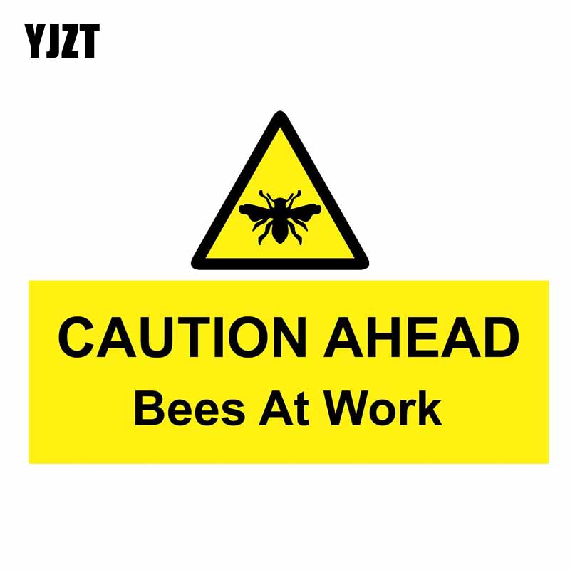 YJZT 15CM*10.2CM Warning Car Sticker Funny CAUTION AHEAD Bees At Work Decal PVC 12-0812