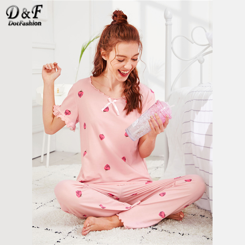 Dotfashion Strawberry Print Frill Knot Lettuce Trim Pajama Set 2018 Summer  Women Casual Pink Round Neck ... 5eb030aa14ea