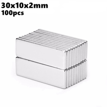 Strong Block Neodymium Magnets 30x10x2mm N35 Rare Earth NdFeB 100pcs 30x10x2 Powerful Magnetic Permanent Bar Magnet