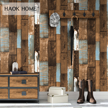 HaokHome 3D Wood Wallpaper Rolls Brown Modern Silk Wall coverings Wall Paper for Living room Bedroom Decoration