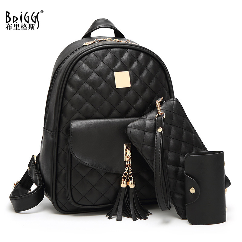 BRIGGS 3/Set Women Backpack For School Bag Quality Leather Student Bag For Teenage Girls Plaid Women Casual Daypack Mochila