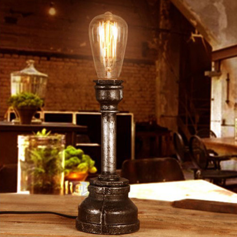 buy vintage reading light industrial retro style single socket bedside pipe table desk lamp edison bulb 220v book lights lighting from