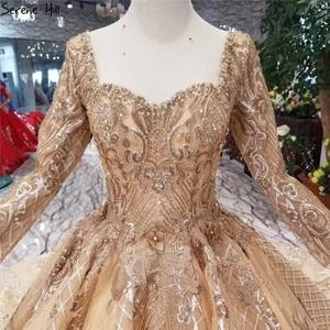 Image 4 - หรูหราทองแขนยาว High end ชุดแต่งงาน 2020 Handmade ดอกไม้ Sequined Bride ชุดแต่งงาน Real Photo CUSTOM Made