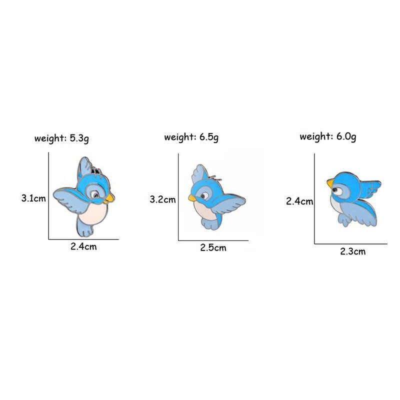3 Pcs/set Sederhana Kartun Lucu Biru Burung Enamel Bros Jarum Seksi Penjualan Pakaian Lencana Dekorasi Bros untuk Wanita Pria Perhiasan