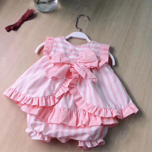 Image 2 - 2PCS Girl Summer Pink Dress Set Cute England Europe Stripe Dress Vintage Spanish Dress for Baby Girls 100% Quality Cotton