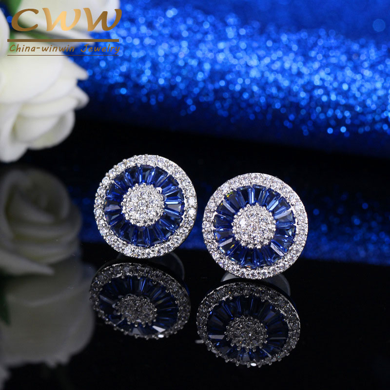 CWW Noble Romantic Dark Blue Crystal Jewelry Luxury Round Shape Cubic Zircon Wedding Stud font b
