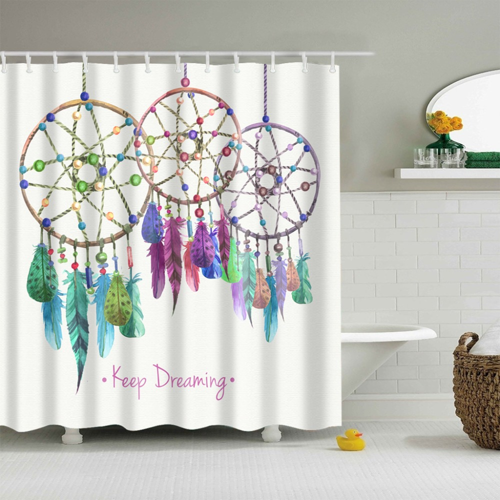 High Quality Bathroom Shower Curtain Polyester Bathroom Curtain Multi-size Dream Catcher Printing Shower Curtain