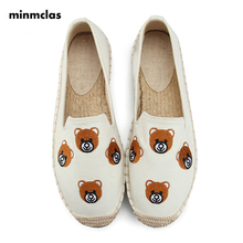 Minmclas Slippers Fashion Embroidery Bear Comfortable Ladies Womens Casual Espadrilles Shoes Flax Hemp Canvas for Girls