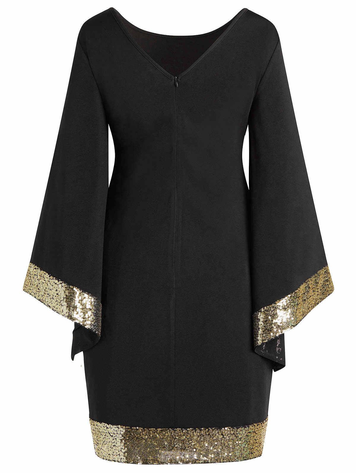 Wipalo для женщин; Большие размеры блёстки с расклешенными рукавами платье однотонное элегантное платье с v-образным вырезом на шее, Bodycon Вечерние Платье Женский Офисные женские туфли платье 5XL Vestido