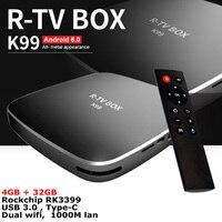 R-TV DOOS K99 4 GB 32 GB Rockchip RK3399 Android 6.0 TV BOX 802.11AC Dual WIFI 2.4G 5G BT4.0 1000 M LAN USB3.0 Type-c Media speler