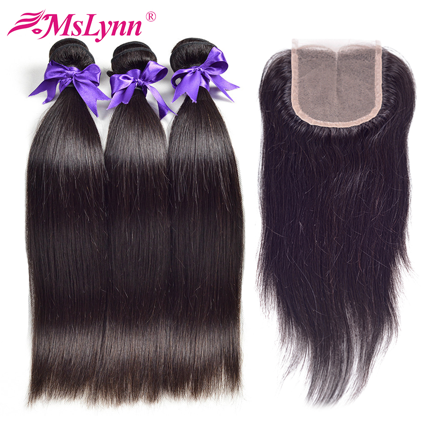Mslynn Peruvian Hair Bundles With Closure Straight Human Hair 3 Bundles With Closure Peruvian Straight Hair Bundles With Closure