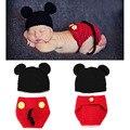 Del bebé Mickey con cubierta del pañal Set fotografía atrezzo para recién nacido hechos a mano Crochet Beanie Animal Costume 1 Unidades H048