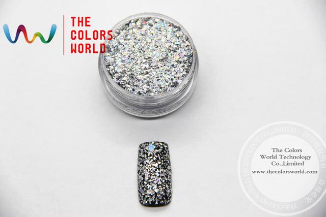 Láser Holográfico Brillante de Color Plata Pequeño Mylar Flakes Cequis Del Brillo para el arte del clavo, tatto, Arte decoración y otros DIY