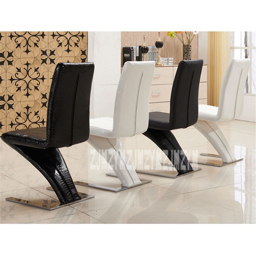 Super Us 107 58 13 Off 1Set 2Pcs Simple Fashion Z Shape Modern Dining Chair Faux Leather Dining Room Reception Chair Hotel Home Popular Furniture In Machost Co Dining Chair Design Ideas Machostcouk