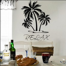 Wall Decal Vinyl Sticker Palm Tree Relax Wall Art Decor Living Room Bedroom House Home Decoration Mural Wallpaper Poster WW-369 road wall decal highway vinyl sticker street wall art kids racing road bedroom living roon home decoration removable diy ww 182