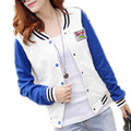 new women fashion slim short zipper round collar Europe and America baseball uniform jacket