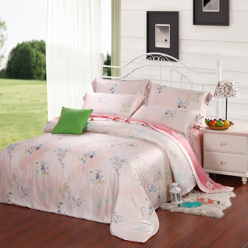 Top quality bedding 4pcs bedding set light pink warm color for Best color bed sheets