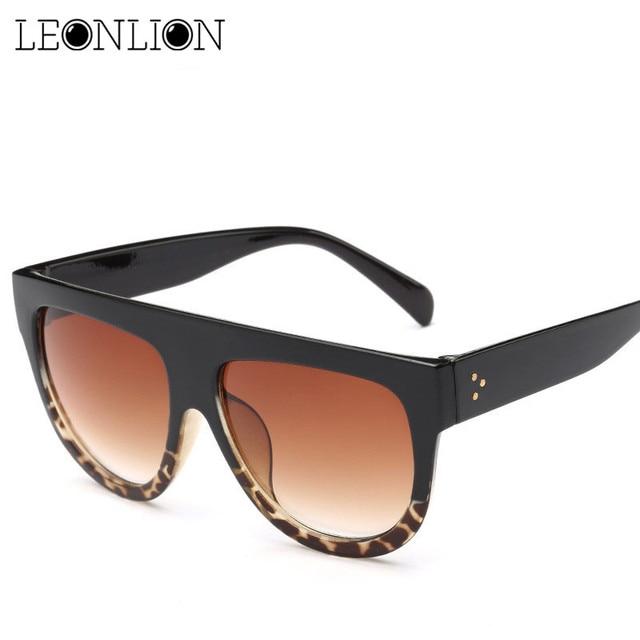LeonLion 2018 Grand Cadre Léopard lunettes de Soleil Femmes Hommes De  Bonbons Dames de Lentilles 5d310f0f4331