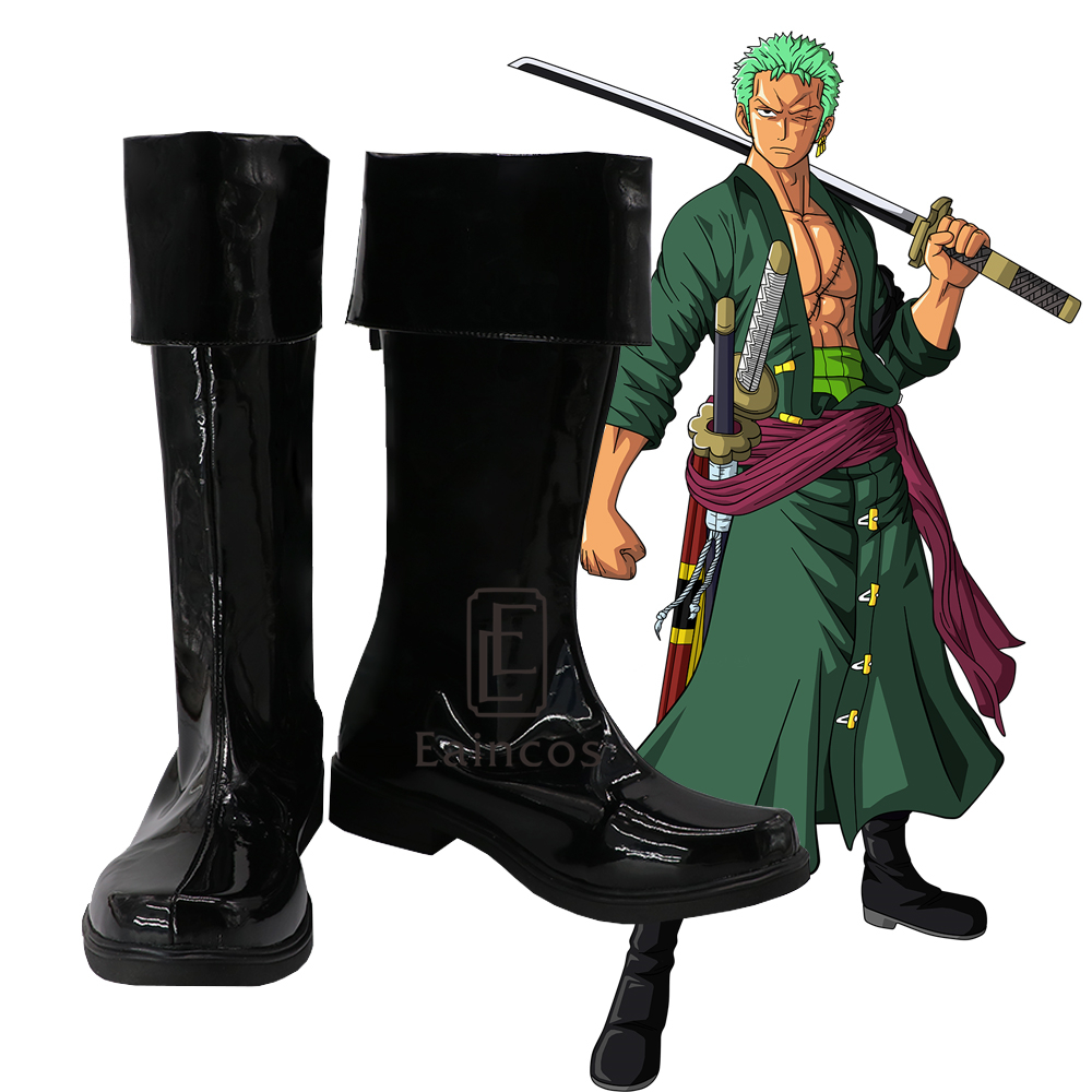 Anime One Piece Two Years Later Roronoa Zoro Cosplay Halloween Party Shoes Black Boots Customized Size