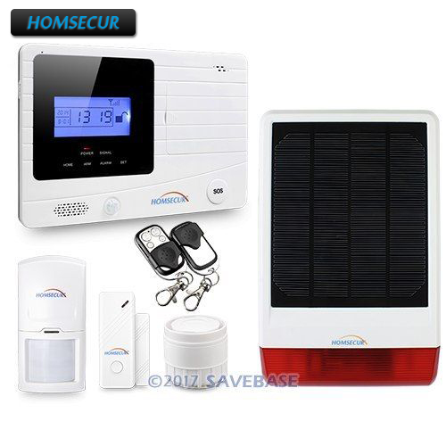 HOMSECUR Wireless Wired GSM Autodial Home font b Alarm b font System Solar Energy Flash Siren