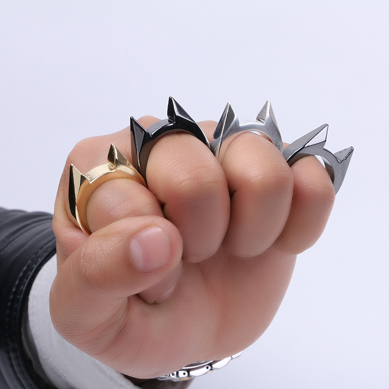 1Pcs Women Men Safety Survival Ring Tool EDC Self Defence Stainless Steel Ring Finger Defense Ring T