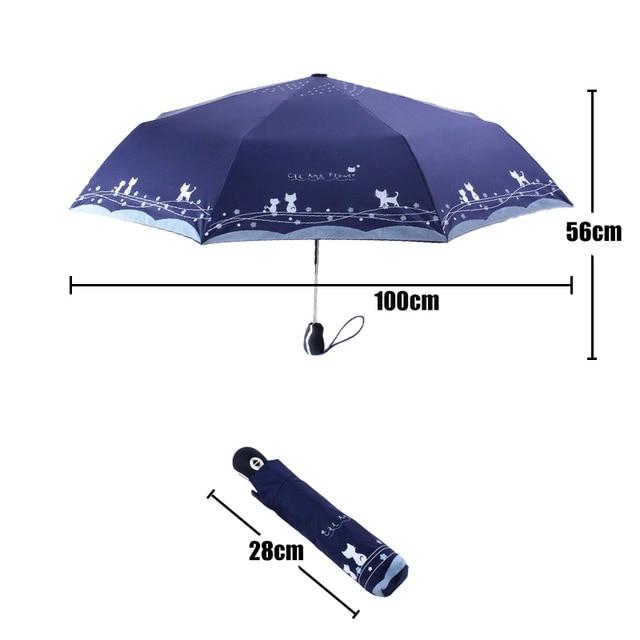 Fiori e Gatto Ombrello Donne Pioggia Antivento Ultralight Sole Pioggia Automatico Ombrelli Pieghevoli Della Signora Ombrello parasole 2