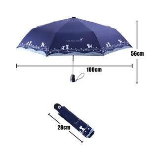 Image 2 - الزهور والقط مظلة المطر النساء يندبروف خفيفة الشمس المطر التلقائي مظلات قابلة للطي سيدة مظلة المظلة