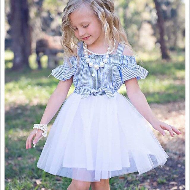 e3b940afb917db 2019 été nouveau mode bébé filles bleu rayé robe infantile enfants  vêtements fille taille haute blanc Tulle de bal robes princesse