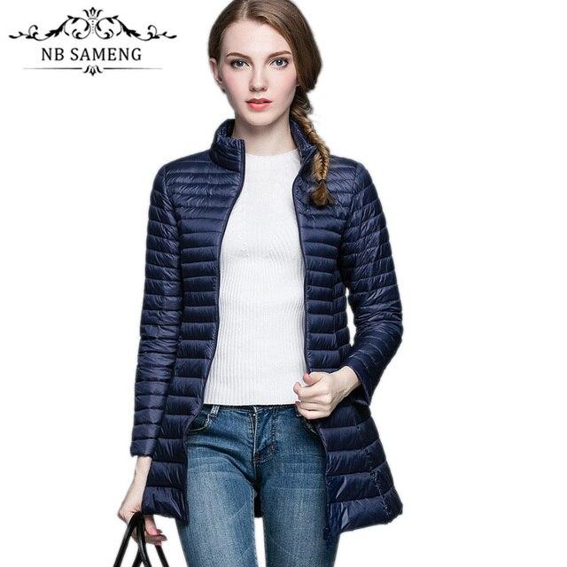 Women Light Down Coat 90% White Duck Down Long Jacket Female Overcoat Ultra Slim Solid Jackets Winter Coat Portable Parkas