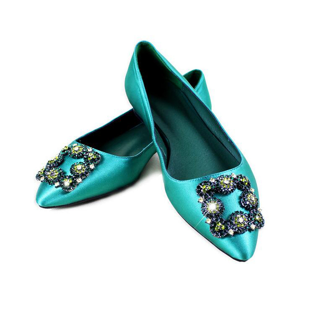 Fashion Green Color Silk Pointed Toe Women Pumps 2cm 6cm 8cm 10cm High Heels Colorful Rhinestone Crystal Woman Party Shoes