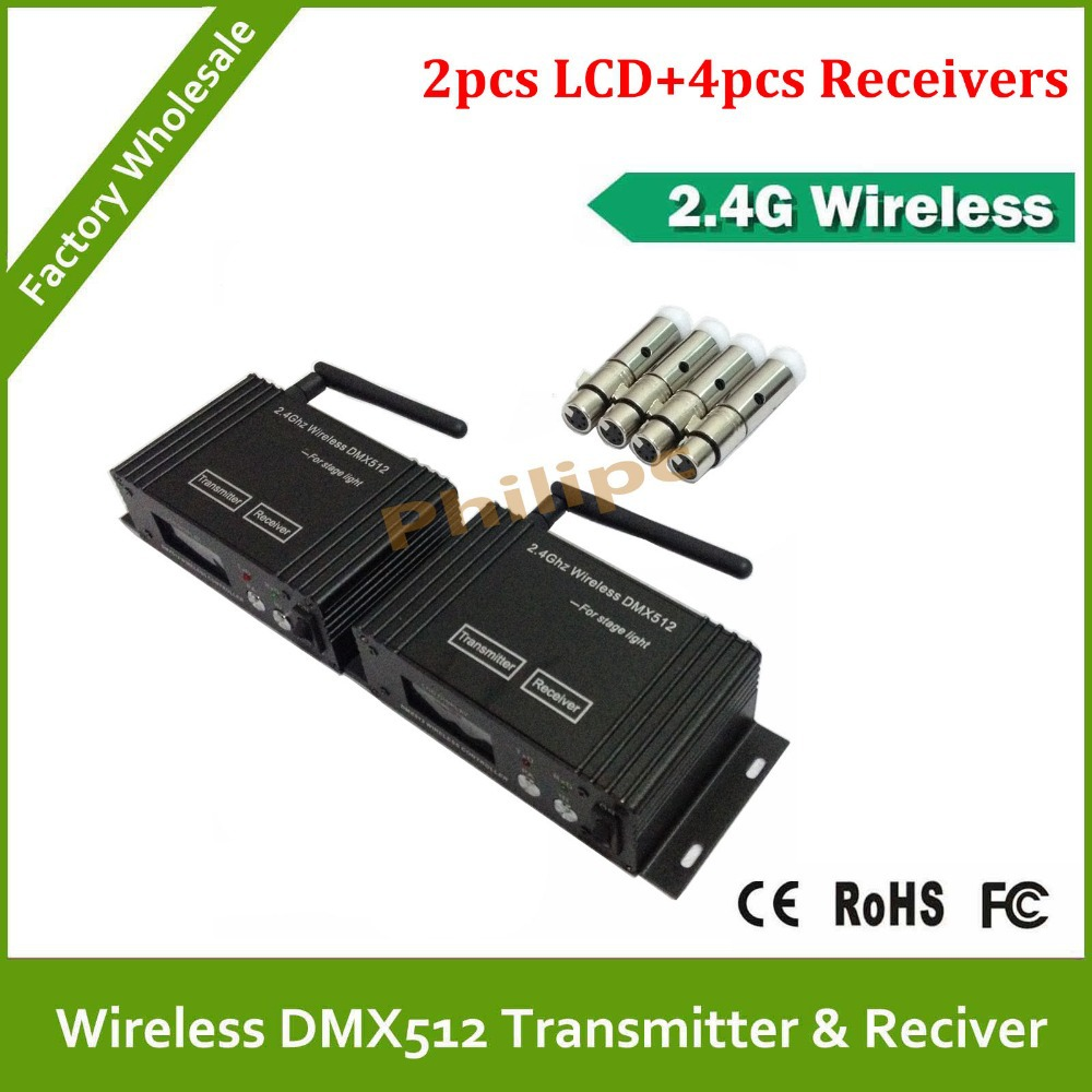 Dhl Free Shipping Factory Direct Supply New Box Xlr Wireless 4ch Remote Control Circuit Board Pcb Transmitter Receives Antenna Toys Dmx Controller Tranceiver 2 Pcs 4 Receiver