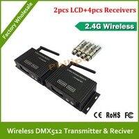 Dhl frete grátis fornecimento direto da fábrica nova de XLR DMX controlador Tranceiver 2 PCS transmissor e 4 PCS receptor