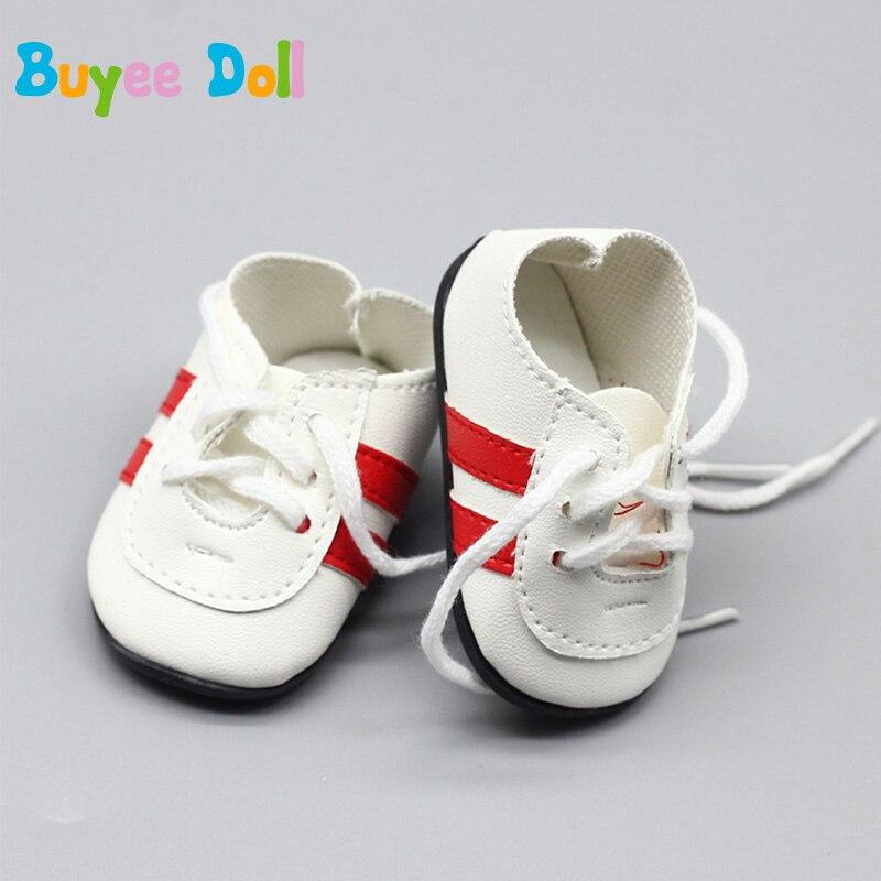 1 пара куклы ремешок обувь 18 дюймов Американский Grils платье куклы обувь на шнуровке кукла Черный и белый Повседневная обувь куклы аксессуары...