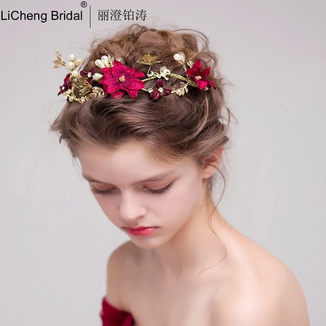 Retro style wedding tiara with red flowers and gold butterfly pearls for marrige 2017 bridal crown