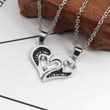 2 Pieces / Set I Love You Couple Stitching Necklace Fashion Rhinestone Broken Heart Pendant Men And Women Lover Jewelry