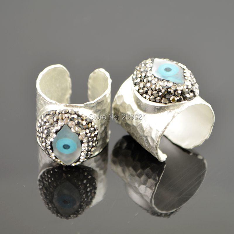 Yeni Yaraşıqlar ~ 5pcs Gümüşü Rinestone Kristal Üzüklər, - Moda zərgərlik - Fotoqrafiya 4
