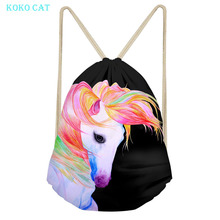 Custom Logo Printed Unicorn Flamingo String Bag Drawstring Backpack Women Travel Beach Bags School Girl Bagpack