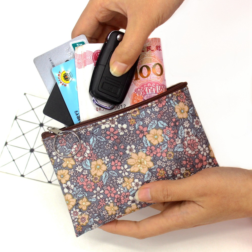 2019 casual vintage small floral coin purse waterproof cotton Fabric small square pouch card holder women mini wallets girl bags