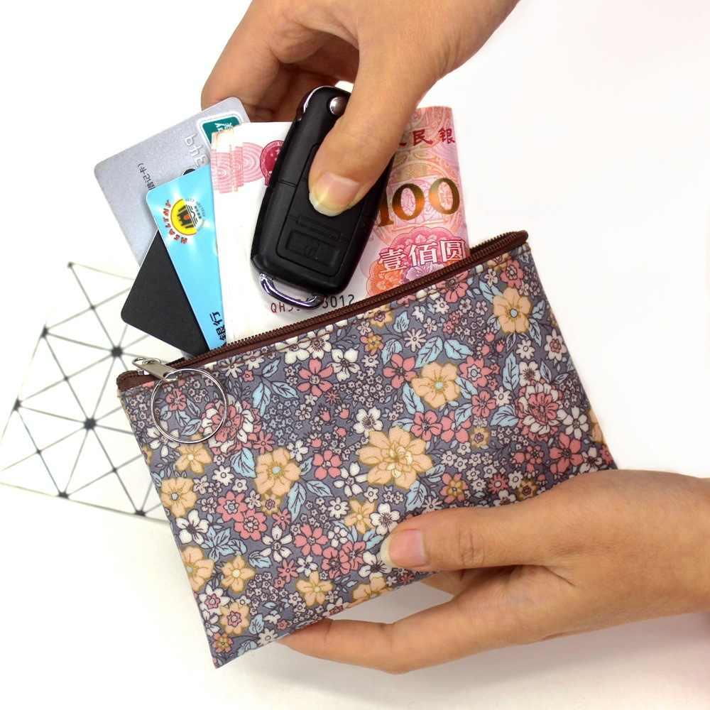 2019 ocasional do vintage pequena bolsa de moedas floral Tecido de algodão à prova d' água mulheres titular do cartão bolsa pequena praça mini carteiras sacos de menina