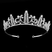Green Bristlegrass Design Tiaras Bride Hair Accessory Wedding Crown Rhinestone Pageant Crowns Head Jewelry