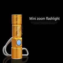 Portable Mini lantern USB Rechargeable 500LM LED Flashlight Outdoor Travel Focus Adjustable Strong light Torch 3-Mode with Strap