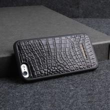 Noir Crocodile En Cuir Téléphone Cas PC Retour Couverture personnalisée nom pour je téléphone 6 8 7 X apple exotique de luxe en cuir De Protection Shell