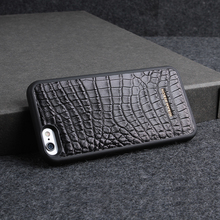 Black Crocodile Leather Phone Case PC Back Cover custom name for i phone 6 8 font