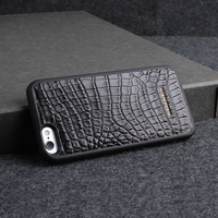 Black Crocodile Leather PC Back Cover Luxurious Exotic Leather Protective Shell For Iphone 6 6 Plus