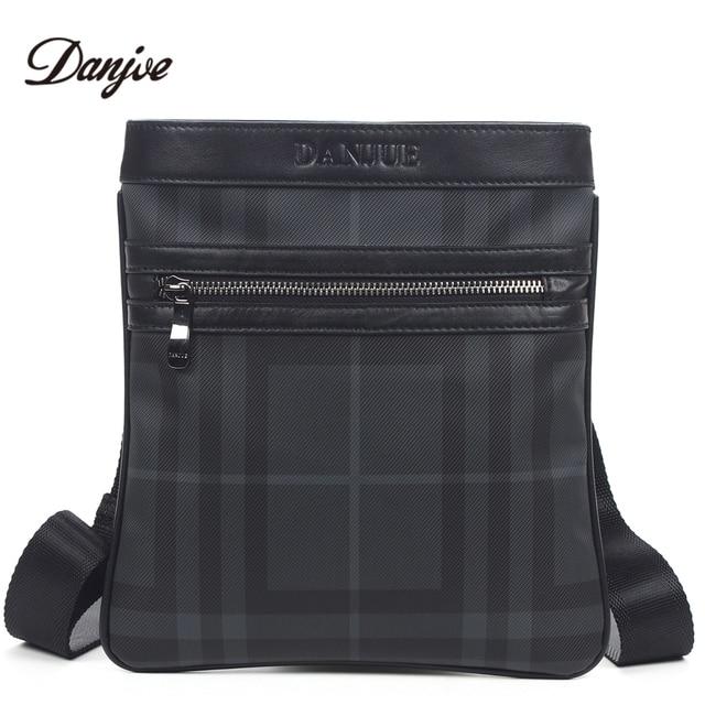 DANJUE Men Messenger Bag High Quality PU Man Bag Trendy Business Bags  Vertical Printing Men Shoulder Bag Thin Leisure Style 1015c65678495