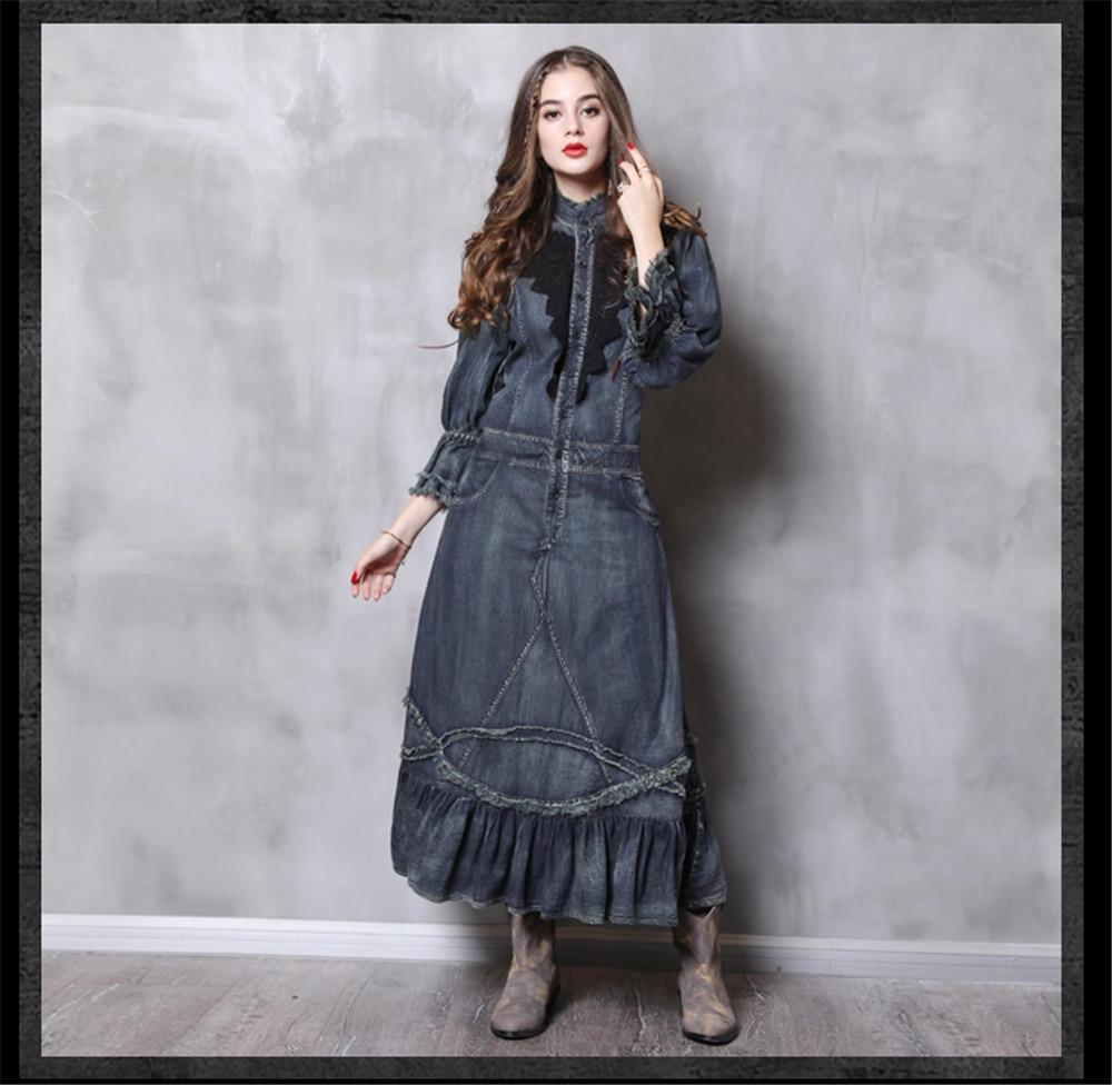 Vintage Autumn Dress Women With Pockets 2018 New Denim Dresses Stand Collar Long Elegant Lace Patchwork Vestidos Femininos (13)