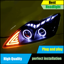 Car Head Lamp Case For Ford Focus MK2 Headlights 2009-2011 LED Headlight Double Angel Eyes DRL Bi-Xenon Lens High Low Beam цена в Москве и Питере