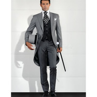 Grey Men Blazer Tailcoat Groomsman Long Mens Wedding Suit (Jacket+Pants+Vest) Men Suit Set Man Suit Tuxedos For Prom Dinner 2017